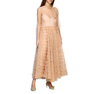 RED Valentino Long Dress In Tulle With Glitter Polka Dots