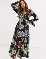 Asos Design DESIGN wrap maxi dress with frills in dark based floral print