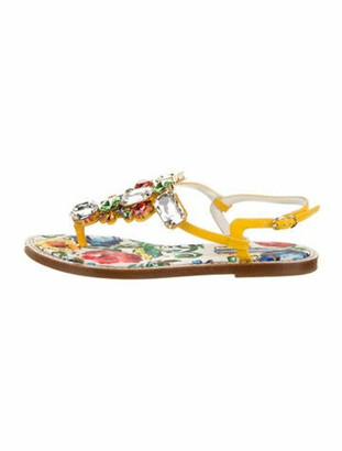 Dolce & Gabbana Patent Leather Floral Print Slingback Sandals Yellow