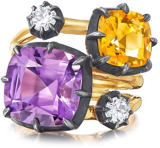 Fred Leighton 18kt yellow gold and oxidised sterling silver Signed Collet set amethyst, citrine and diamond ring