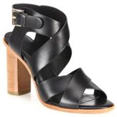 Joie Avery Crisscross Leather Block-Heel Sandals