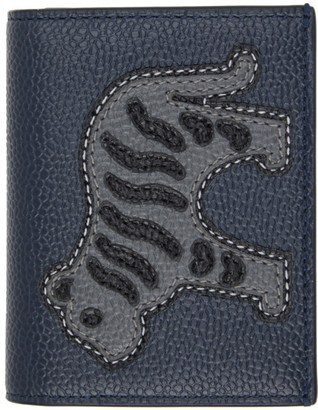 Thom Browne Navy Animal Icon Double Card Holder