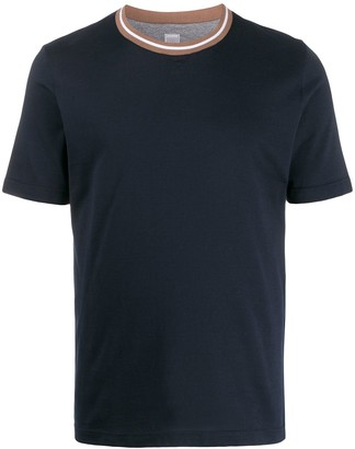Eleventy regular-fit contrasting-collar T-shirt