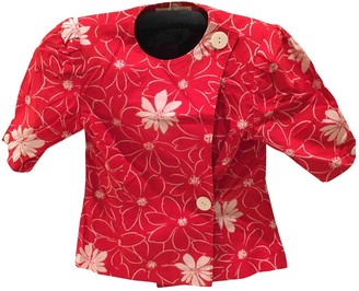 Hanae Mori Red Cotton Jacket for Women Vintage