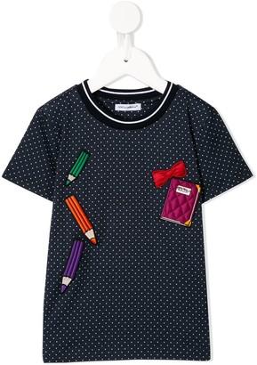 Dolce & Gabbana appliqued polka dot T-shirt