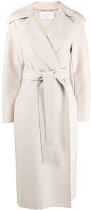 Harris Wharf London Belted Felted Wool Wrap Coat