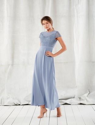 Forever New Luna Lace Cap-Sleeve Wrap Maxi Dress - Light Blue - 4