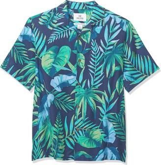 28 Palms Relaxed-Fit 100% Silk Tropical Hawaiian Shirt Button