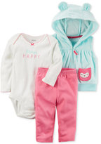 Carter's 3-Pc. Hooded Vest, Happy Bodysuit and Pants Set, Baby Girls (0-24 months)