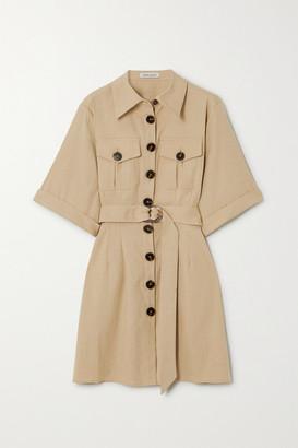 ANNA QUAN Robbie Belted Linen-blend Mini Shirt Dress - Sand
