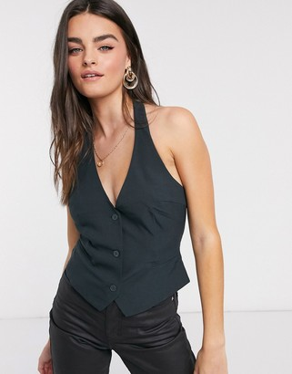 ASOS DESIGN mix & match halter suit vest in forest green