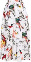 Erdem Elena Pleated Printed Cotton-poplin Midi Skirt - White