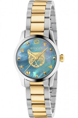 Gucci G-Timeless Watch with a Steel case, light blue mother of pearl dial with feline head motif and a steel and yellow gold PVD bracelet YA1265011