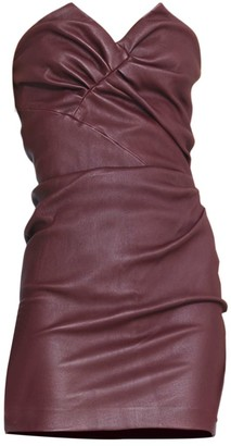 IRO Valana Ruched Strapless Leather Dress