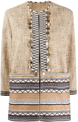Bazar Deluxe Geometric Jacquard Embellished Jacket