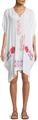 Johnny Was Tillson Embroidered Georgette Drama Caftan, Plus Size