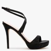 Daniel Anletti Black Satin Embellished Platform Sandals