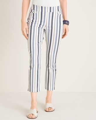 Chico's So Slimming Brigitte Striped Side-Vent Slim Crops