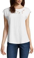 Liz Claiborne Short Sleeve Crew Neck T-Shirt-Womens
