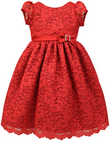 Jayne Copeland Red Lace Cap-Sleeve Dress - Girls