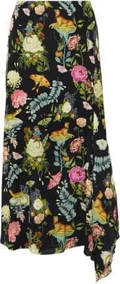 Vilshenko Eliza Draped Printed Silk Midi Skirt