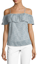 Lucca Couture Cold Shoulder Ruffle Printed Top