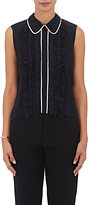 Marni Women's Ruffled-Front Crepe Blouse-BLACK