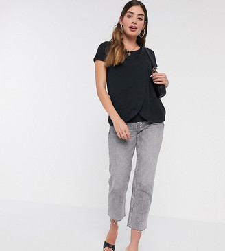 Mama Licious Mamalicious Maternity wrap front tee with nursing function in black
