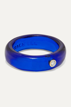 Lee Grace Resin And Diamond Ring - Blue