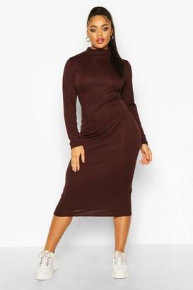 boohoo Plus Rib Knit Roll Neck Midi Dress