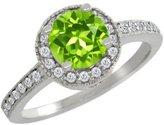 Gem Stone King 1.20 Ct Round Green Peridot White Diamond 18K White Gold Ring