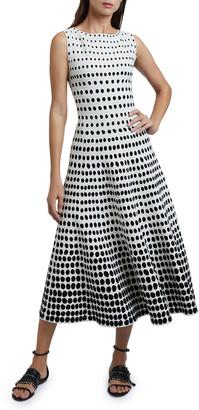 Alaia Polka-Dot Sleeveless Boat-Neck Dress