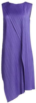 Pleats Please Issey Miyake Drape Pleats Asymmetric Hem Dress