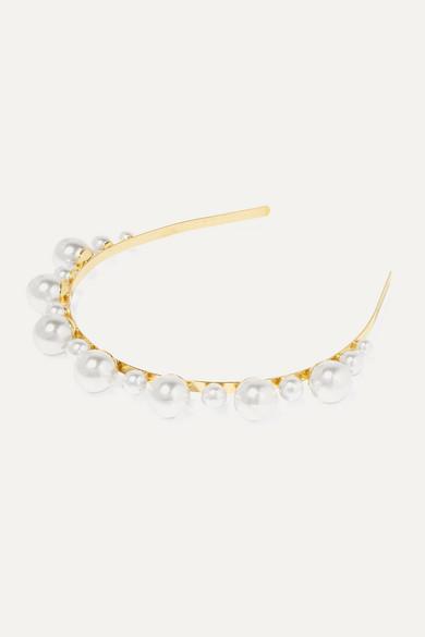 LELET NY Gold-plated Faux Pearl Headband - one size