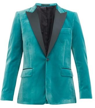 Paul Smith Single-breasted Satin-lapel Soho-fit Velvet Jacket - Mens - Green