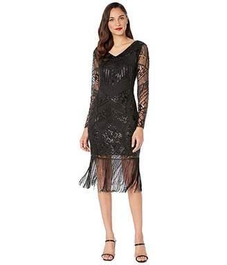 Unique Vintage 1920s Beaded Long Sleeve Fringe Celia Flapper Dress