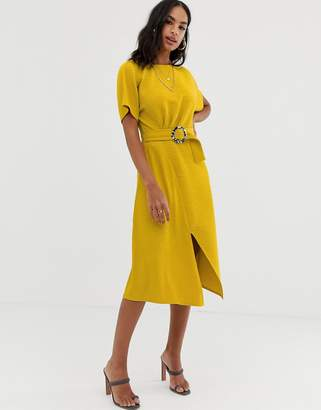 Asos Design DESIGN midi dress with faux mono tortoiseshell buckle in texture-Yellow