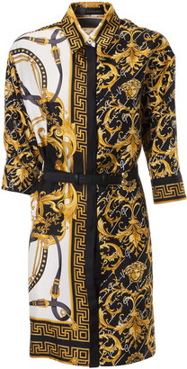Versace Belted Waist Contrast Print Dress