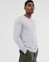 Bershka knitted sweater in gray marl