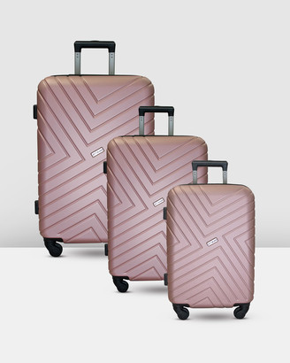 Jett Black Rose Gold Maze Luggage Set