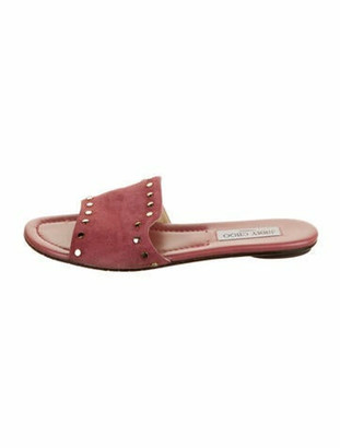Jimmy Choo Suede Studded Accents Slides Pink