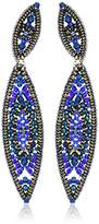 Miguel Ases Double Marquise Swarovski Angled Crawler Post Sapphire Drop Earrings