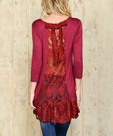 Celeste Burgundy Lace-Panel Ruffle-Hem Tunic