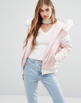 Missguided Satin Faux Fur Hood Padded Bomber