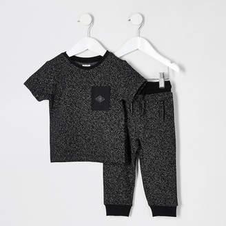 River Island Mini boys black textured T-shirt outfit
