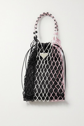 Prada String Color-block Nylon And Leather Tote - Pink