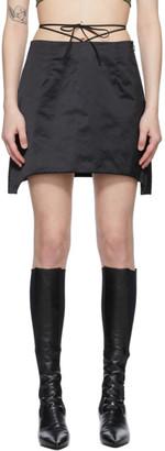 Helmut Lang Black Satin Miniskirt