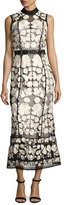 Marchesa Sleeveless Embroidered Lace Cocktail Dress, Black/White