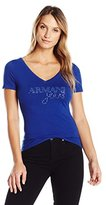Armani Jeans Women's Stretch Cotton Jersey Logo Short Sleeve V Neck Tee