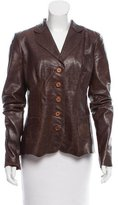Elie Tahari Button Up Leather Jacket